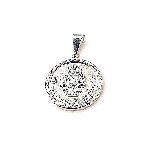 Colgante plata ley 925m 20mm. medalla Virgen Cabeza [AA8329]