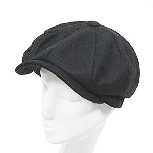 Classic 8 Panel Wool Tweed Newsboy Gatsby Ivy Cap Golf Cabbie Driving Hat,Black, #58