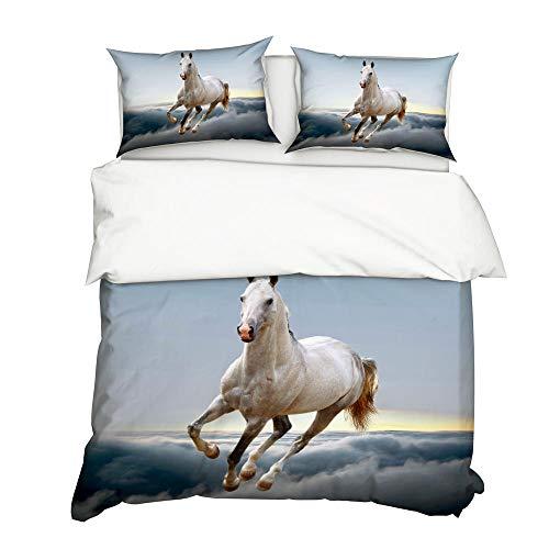 Tanboank Bettbezug 135x200cm mit 2 Kissenbezug 3D Bettwäsche Set Tierpferd-NYY-215 Drucken Mikrofaser Polyester mit Reißverschluss Pflegeleicht Atmungsaktiv Warm Weiche Anti-Fading