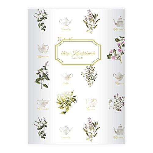 Kartenkaufrausch 1 gepersonaliseerde, verse kruiden thee DIN A4 schoolschrift, rekenboekje met theepotten en kruiden op witte liniatuur 7 (geruit boekje)