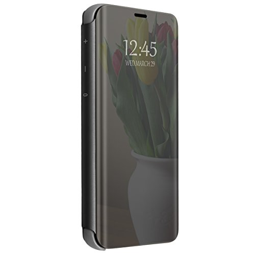 Funda para OnePlus 6/6T Transparente Transparente Funda Transparente Ultrafina Cristal Ventana Espejo Folio Flip Cover para OnePlus 6/6T (Negro, OnePlus 6T)