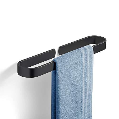 YOOKEA Handtuchhalter Bad, Handtuchhalter Ohne Bohren, 180° Drehung Edelstahl Handtuchhalterung Wand (40 cm (Schwarz))