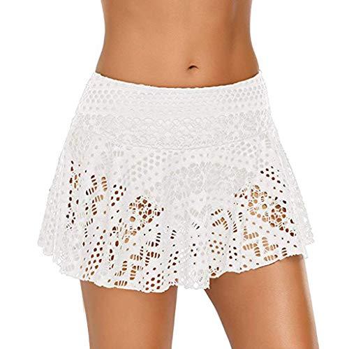 jieGorge Traje de baño para Mujer, Falda de Bikini con Falda de Crochet de Encaje para Mujer Traje de baño con Falda Corta Falda de baño, Traje de baño para Mujer Control de Barriga (Blanco XL)