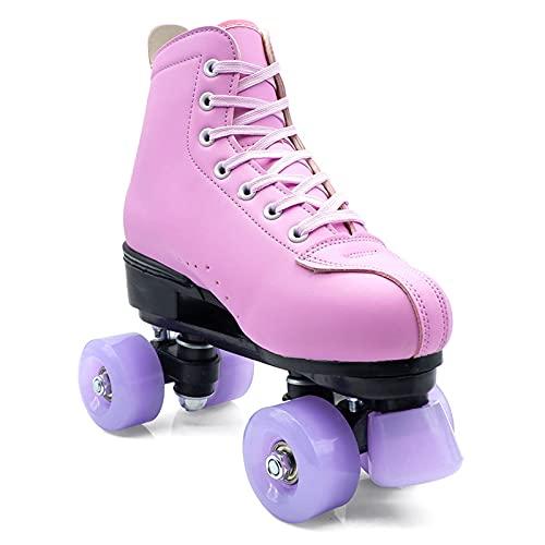 Patines Paralelos para Mujeres y Hombres, Clásicas Patines Quads Ruedas, Ajustables Skate con Ruedas de PU, para Interiores y Exteriores, Principiantes, Adolescentes, Adultos, Unisex