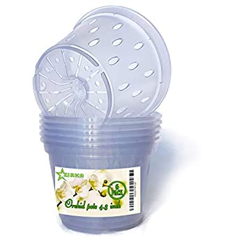 Clear Orchid pots with Holes Plastic Flower Planter 4.3 inch – 6 Pack