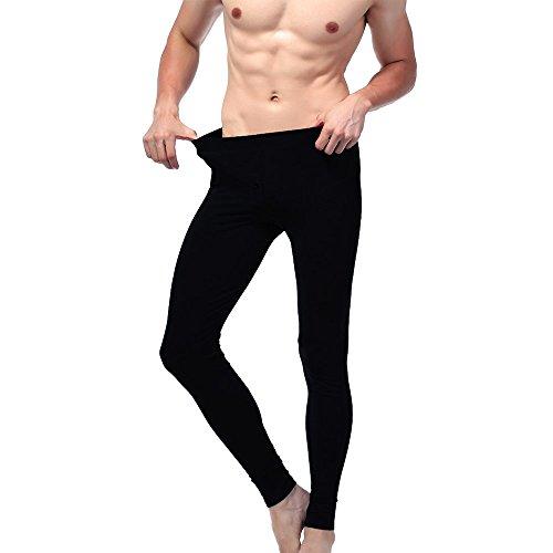 Pack 3 leggings uomo termico con interno felpato Meggings con patta con clip tessuto elasticizzato (3 paia di colore Nero). MWS