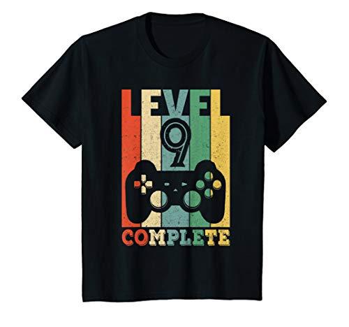 Kinder Geschenk 9-jähriger Junge 9. Geburtstag Gamer Zocker Level 9 T-Shirt