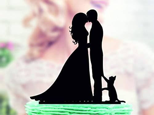 DKISEE Bruiloft Taart Topper met Kat, Silhouette Groom en Bruid, Silhouette Cake Topper met Kat, Family Cake Topper, Grappig, Cake Topper voor bruiloft, Verjaardag, Feest wood multi