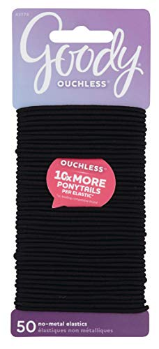 Goody Women's Ouchless Elastics, Black, 50 Count, 2MM for Finer Hair