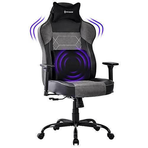 VON RACER Großer Memory Foam Gaming Stuhl - Verstellbares Massage Lendenkissen Ergonomischer Büro-Schreibtischstuhl Höhenverstellbarer Drehstuhl mit Wippfunktion, Grau