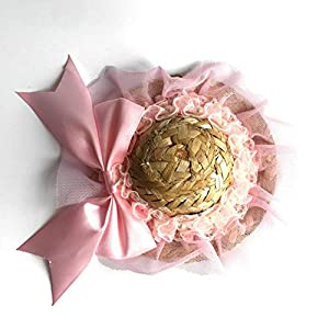 Ollypet Cute Dog Hat Cat Costume Party Outfit for Small Medium Pets Straw Hat Adjustible Pink Flower Funny Puppy Hat
