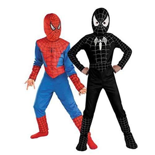 YUNMO Disfraz de Hombre araa para la Segunda Ropa de Piel para nios Outfit Halloween (Color : Negro, Tamao : 130)