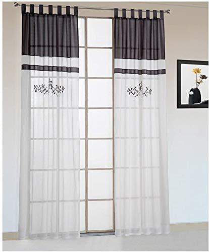 KOU-DECO Schlaufen Schals 2er Set Leinen Voile Weiß Vintage Vorhang mit Stickerei Landhausstil Deko Gardinen für Küche (Grau, 140x225cm)