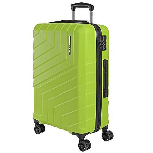Valigia Trolley da Viaggio Rigida - Bagaglio da Stiva Ultra Leggero in ABS con Manico in Alluminio - Chiusura TSA e 4 Ruote Doppie Girevoli - 65x44.5x27 cm 75 Litri - Perletti Travel (Verde Lime, M)