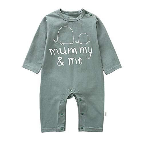 Mornyray Unisexe Bébé Printemps Automne Coton Solide Couleur Mots Bande Dessinée Onesies Barboteuse Pyjama 1-24 M Size 90 (Green)