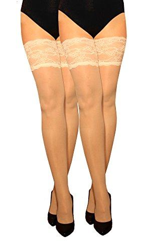 Marilyn transparente halterlose Strümpfe mit 15 cm Spitze, 2er Pack, 20 Denier, Größe 36/38 (S/M), Farbe 2x milch