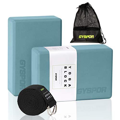 "GYSPOR Yoga Blocks 2 Pack Set 9""x6""x3"" with Yoga Strap and Sports Bag, Non-Slip Surface High Density EVA Foam Yoga Block for Pilates, Meditation, Exercise (Teal)"