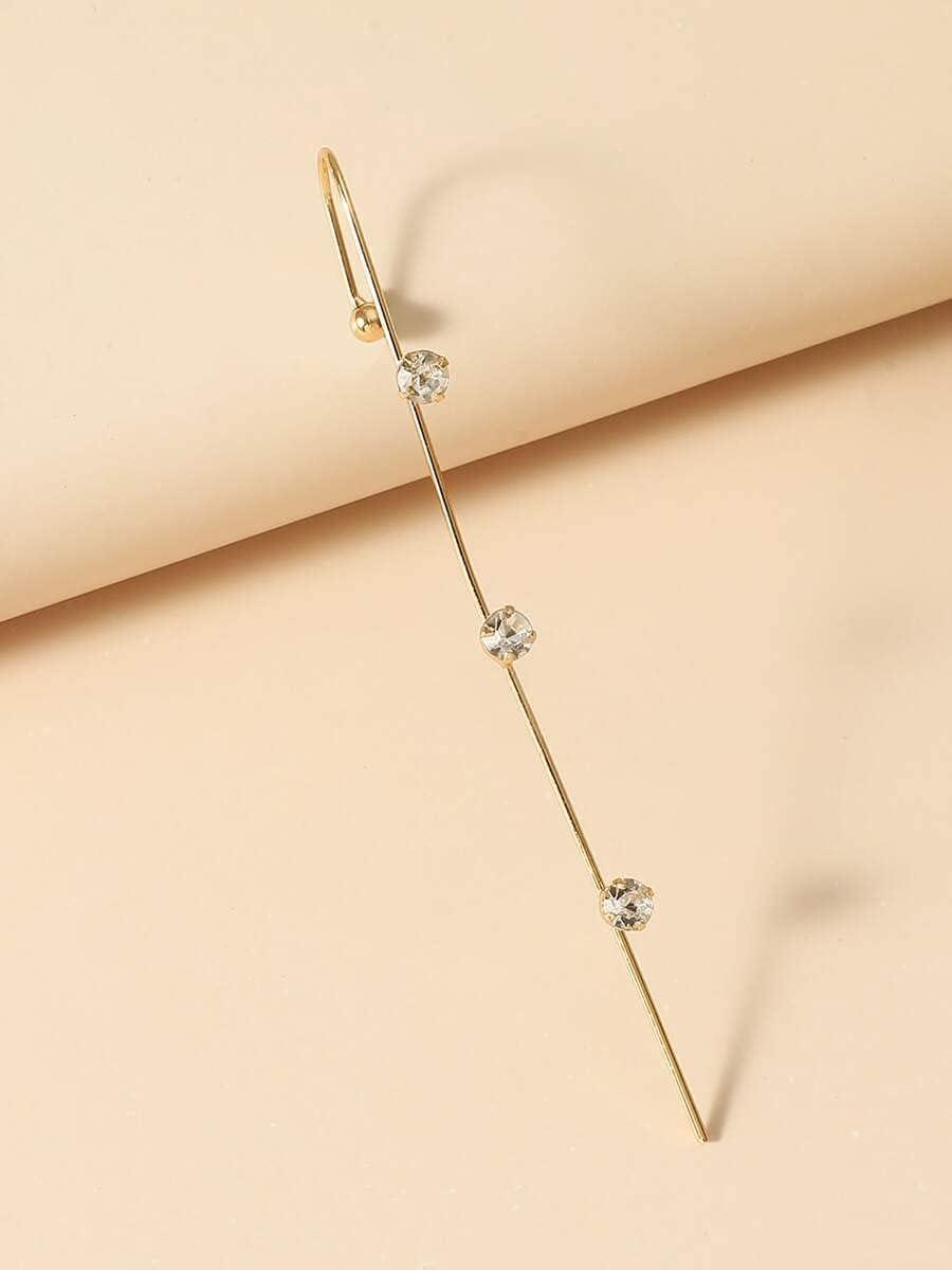 ZHCHL Hoop Earrings 1pc Rhinestone Decor Ear Cuff (Color : Gold)