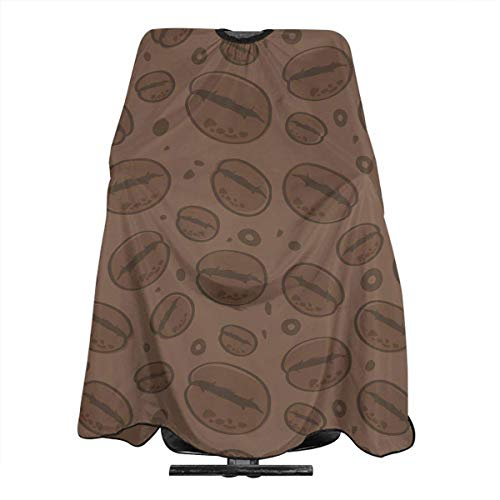 Professional Barber Cape Coffee Bean Print Salon Haircut Aprons Hair Styling Gown For Coloring Perming Hair Cutting Treatment Shampoo Chemical Proof Hairdresser 55