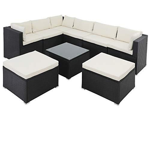 Casaria Poly Rattan XXL Lounge Set inkl. 7cm Auflagen und 15cm dicken Kissen Tisch mit Glasplatte frei stellbare Elemente Gartenmöbel Sitzgruppe Schwarz Creme