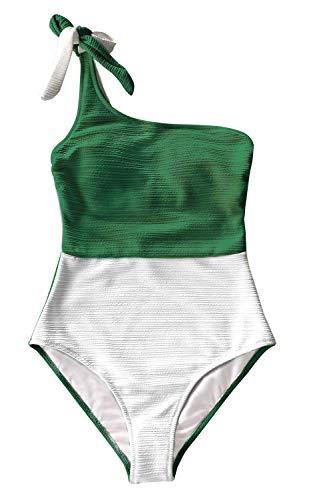 CUPSHE Women's One Piece Swimsuit One Shoulder Tie Strap Color Block Asymmetric Bathing Suits Green, L