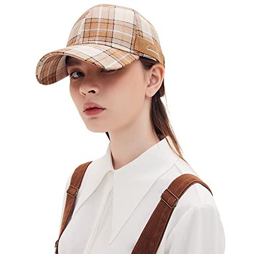 CACUSS Fashion Vintage Gorra de béisbol para Mujer, Gorra de algodón a Cuadros con Gorra de Golf con Lazo de Metal Ajustable