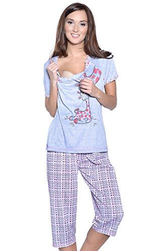 Mija Arts - Pijama Entero - para Mujer Gris/Rojo XXX-Large