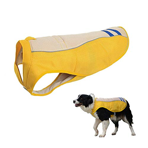 JanTeelGO Dog Cooling Vest, Breathable Cooling Coat Outdoor Anti-heat Summer Jacket Clothes for Medium and Large Pet Dogs (L, Yellow)