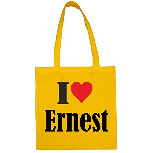 Tasche I Love Ernest Größe 38x42 Farbe Gelb Druck Schwarz