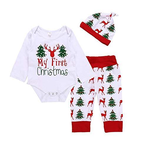 DYMAS Navidad niños 2018 otoño Navidad bebé Conjunto Ciervo Cabeza árbol de Navidad Letra Bodies + Pantalones + Sombrero Tres Piezas Conjunto