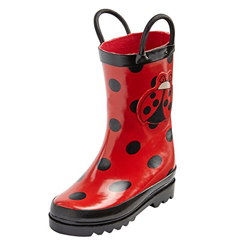Puddle Play Toddler And Kids Ladybug Printed Waterproof Rubber Rain Boots Easy-On Handles - Size 5 Toddler