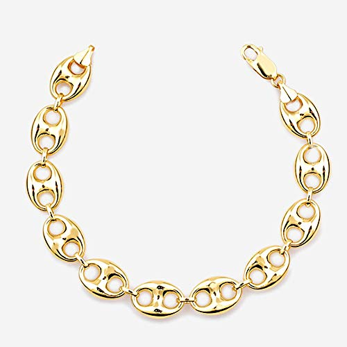 TJC 9ct Yellow Gold Mariner Chain Bracelet for Women Size 8.5 Inches in Glossy Finish