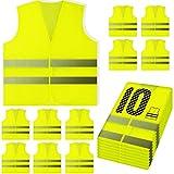 PeerBasics, 10 Pack, Yellow Reflective High Visibility Safety Vest, Hi Vis Silver Strip, Men & Women, Work,...