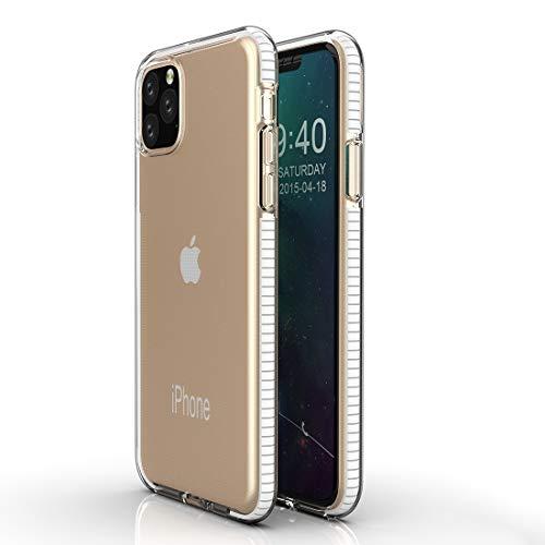 Yughb 11 Caja del teléfono MAX Pro Caja del teléfono iPhone 11Pro for el iPhone Caja Protectora 11 Pro TPU Bicolor Gota a Prueba cáscara Impermeable de Silicona (Color : White)