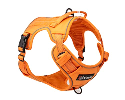 Verja Tactical Dog Harness No-Pull Adjustable Pet Harness Reflective K9 Working Training Pet Vest Military Service Dog Harness for Small Medium Large Dogs (XL(Neck:20-29',Chest:26-39'), Orange)