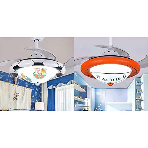 36.22' Wide Basketball Design Sports Theme Ceiling Fan light, NIUYAO Ceiling International Sports Fan with Frosted Glass Shade in Orange for Boys Bedroom,Kids Room,Children Bedroom 479667