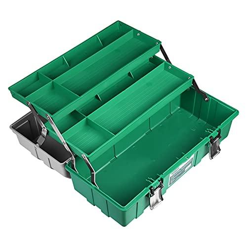 Caja de herramientas Caja de herramientas de plástico de 3 capas Caja de almacenamiento multifunción con bandeja plegable Portátiles de reparación de hardware al aire libre. Caja de herramientas de pl