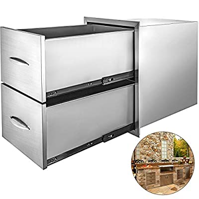 VBENLEM Outdoor Kitchen Drawers 18x24 Inch BBQ Drawers Stainless Steel with Handle Double Drawers for Outdoor Kitchens