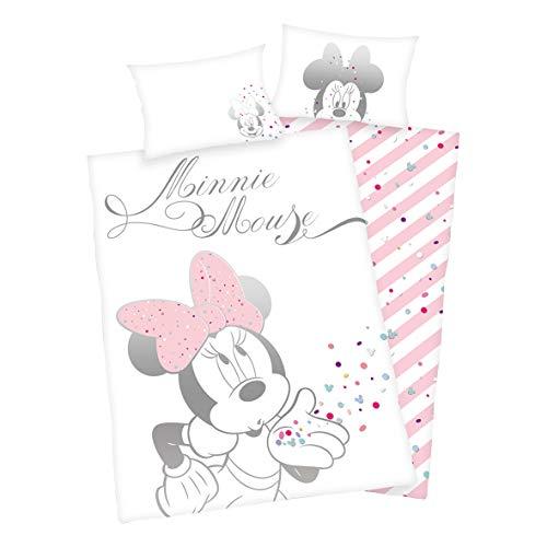 Parure de lit Arle-Living - 3 pièces - Pour bébé - Motif réversible : Minnie Mouse - Coton renforcé - 100 x 135 cm / 40 x 60 cm / 1 drap-housse : 70 x 140 cm Minnie Mouse Glitter