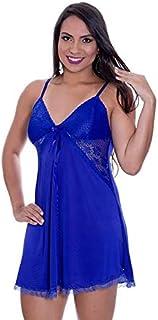 f5c1fad29 Camisola Azul em Liganete e Renda com Calcinha Francielly - MS1896