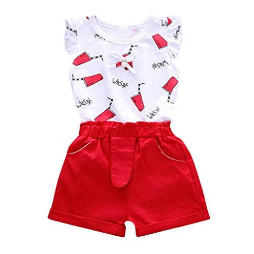 MRULIC Baby Mädchen Outfits Kleidung Bowknot Weste Tops + Plaid Shorts Hosen Sets Anzug 1-6 Jahre(X3-Rot,90)