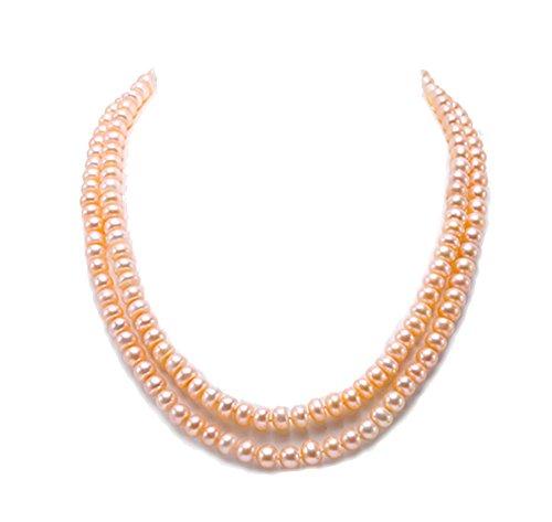 JYX Pearl Classic Doppelte Perlenkette Perlenkette AA + Qualität 7mm flache runde rosa Süßwasser Zuchtperlen Halskette