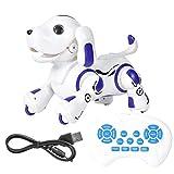 Juguete para perros robot con control remoto, perro inteligente electrónico con sensor táctil inteligente, juguete para perros robot con baile inteligente, juguete para educación temprana(Azul)