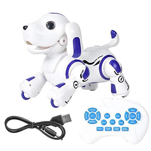 Ferngesteuerter Roboterhund, elektronischer intelligenter berührungsempfindlicher Roboter Hunderoboter Welpenspielzeug mit Befehlen singen, für Kinder (Blau)