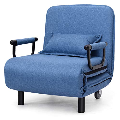Giantex Schlafsessel klappbar, Klappsessel Schlafsessel mit Armlehnen & Kissen, 3-in-1 Klappsofa Bettsessel Funktionssessel inkl. Kissen, ideal für Wohnzimmer Büro Schlafzimmer (blau)