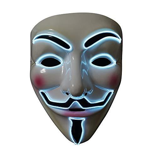 SOUTHSKY LED Maske Leuchtend V wie Vendetta Maske mit Led Licht Anonymous Masken Vollmaske Neon Lichter Blinker EL Draht Glowing 3 Modes Für Halloween Kostüm Cosplay Party(V-Weiß)