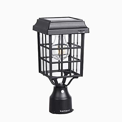 Kemeco ST4329Q-A LED Cast Aluminum Solar Post Light Cap Light Patio Lighting for Outdoor Garden Post Pole Mount Deck