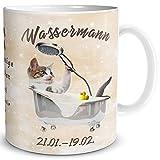 TRIOSK Tasse Katze lustig mit Spruch Sternzeichen Wassermann Katzenmotiv Geschenk für Katzenliebhaber Geburtstag Frauen Freundin