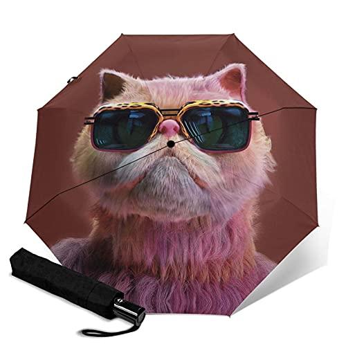 MAJMIN Gafas gato paraguas plegable automático, paraguas, lluvia o brillo, Negro, Taille unique