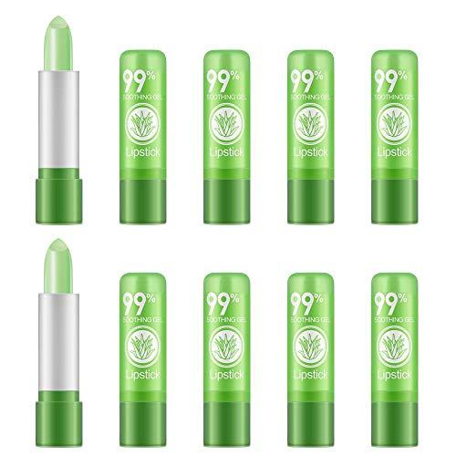 Ownest 10 paquetes de lápiz labial Aloe Vera, de larga duración Calmante Crema de cacao nutritiva, hidratante Labios Color Magic Cambio de temperatura cuidado de los labios del lápiz labial